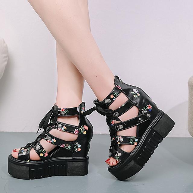 Women's Sandals Wedge Sandals Summer Creepers Peep Toe Daily PU White / Black