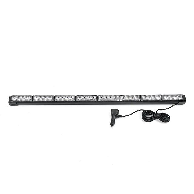 35 Inch 32 LED Car Traffic Advisor Emergency Hazard Warning Signal Strobe Light Bar Amber White Lamp
