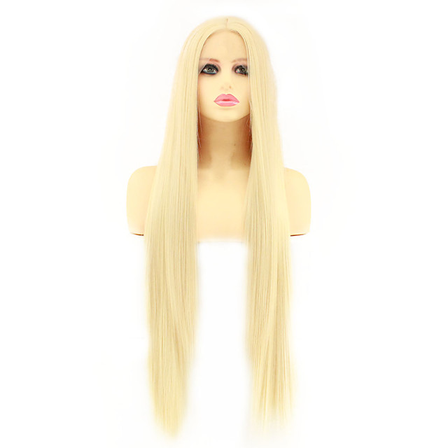 Synthetic Lace Front Wig Straight Lily Middle Part Lace Front Wig Blonde Long Very Long Light Blonde Synthetic Hair 30 inch Women's Heat Resistant Women Middle Part Blonde / Glueless