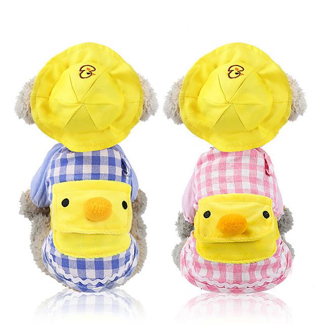 Dog Cat Sweater Sweatshirt Bandanas & Hats Plaid / Check Cartoon Casual / Daily Sweet Dog Clothes Yellow Blue Pink Costume Cotton XS S M L XL XXL
