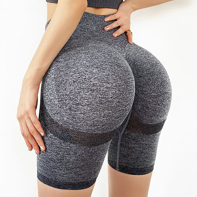 Women's High Waist Yoga Shorts Scrunch Butt Ruched Butt Lifting Shorts Tummy Control Butt Lift Quick Dry Yellow Red Navy Blue Nylon Spandex Fitness Gym Workout Running Sports Activewear High