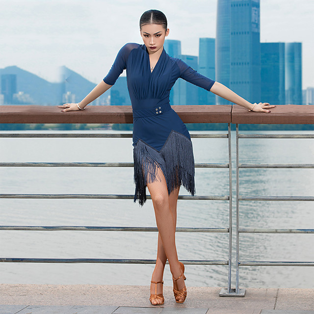 Latin Dance Dress Tassel Ruching Women's Performance Half Sleeve Ice Silk