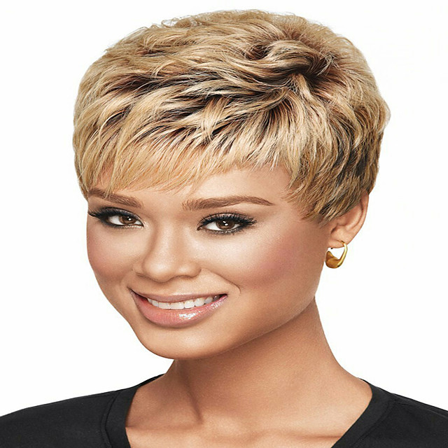 Synthetic Wig kinky Straight Pixie Cut Wig Short Light Brown Synthetic Hair 12 inch Women's Simple Fashionable Design Women Brown