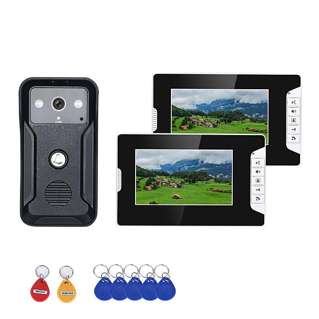 7 Inch 2Monitors Video Intercom Door Phone RFID System with HD Doorbell 1000TVL Camera