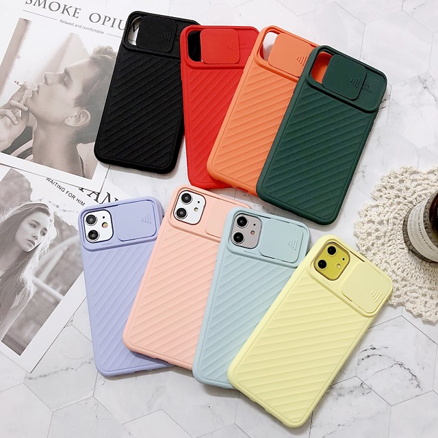 Solid Colored PC Case with Lens Cap for Apple iPhone 11 Pro Max X XR XS Max 8 Plus 7 Plus 6 Plus SE Back Cover