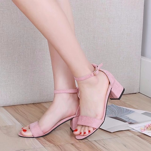Women's Sandals Summer Chunky Heel Open Toe Daily PU Pink / Black / Gray