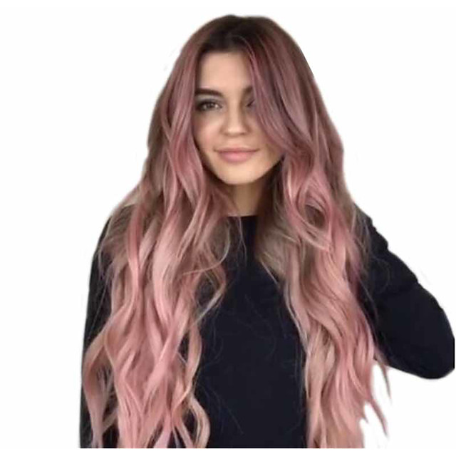 Synthetic Wig Matte Body Wave Middle Part Wig Very Long Pink / Purple Synthetic Hair 26 inch Women's Fashionable Design Sexy Lady Color Gradient Purple