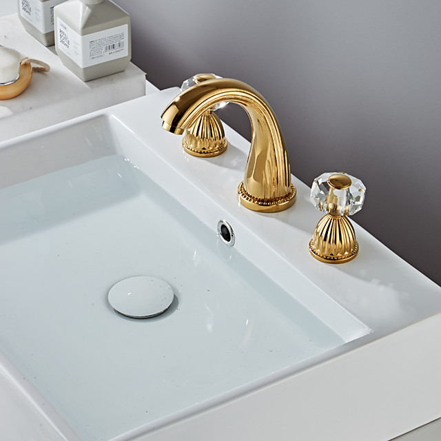 Bathroom Sink Faucet - Widespread Electroplated Widespread Two Handles Three HolesBath Taps