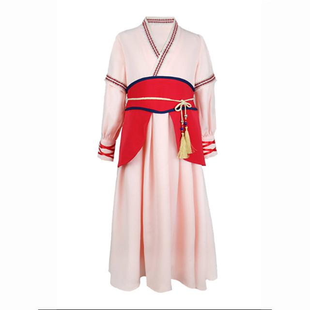 Princess Mulan Dress Flower Girl Dress Girls' Movie Cosplay A-Line Slip Pink Dress Children's Day Masquerade Polyester