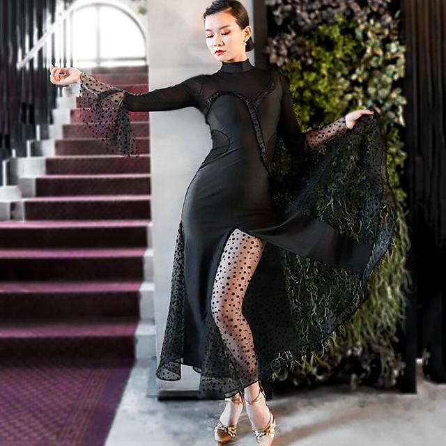 Ballroom Dance Dress Sashes / Ribbons Split Joint Women's Training Performance Long Sleeve Mesh Polyster