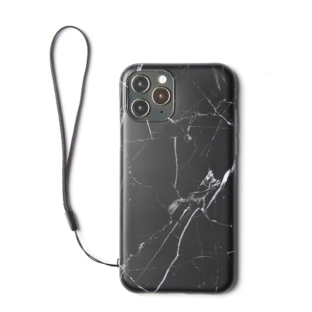 IMD Back Cover Marble Plastic with Hand Rope Case For Apple iPhone 11 Pro Max Shockproof