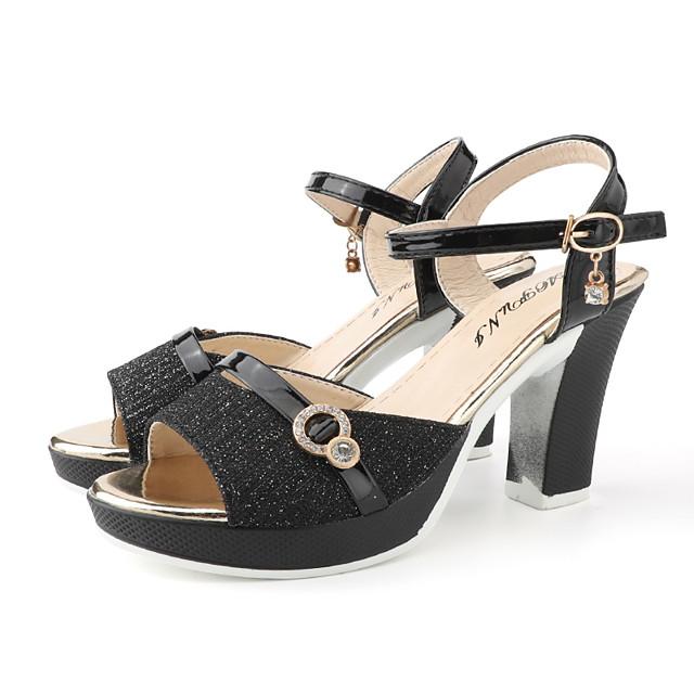Women's Sandals Summer Block Heel Open Toe Daily Outdoor Buckle PU Black / Gold / Silver