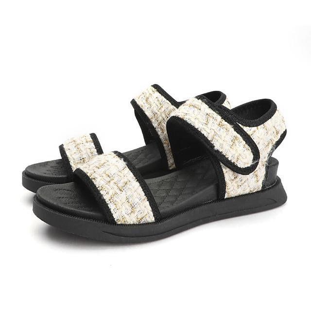 Women's Sandals Flat Sandal Summer Flat Heel Open Toe Casual Daily Outdoor Knit White / Black
