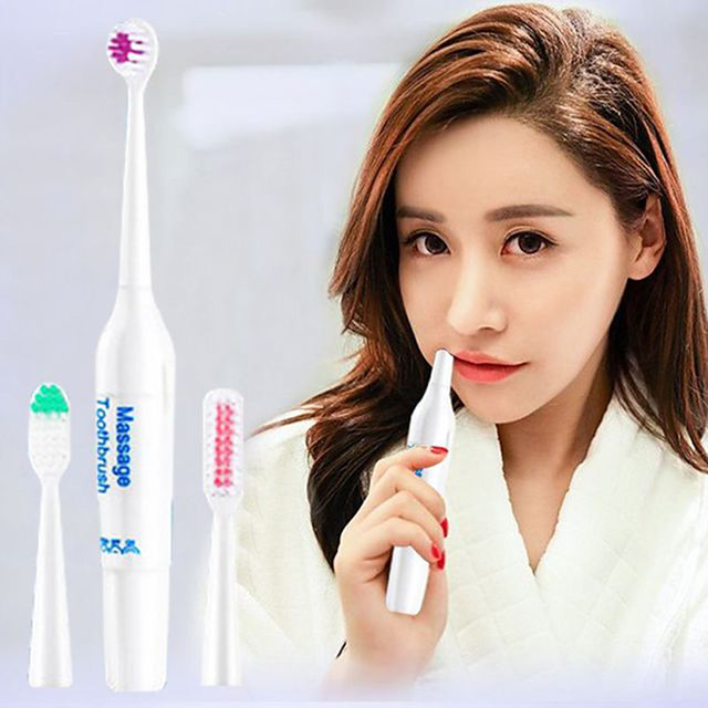 Rotary Electric Toothbrush Adult Teeth Whitening Tool 3 Brush Heads Waterproof Portable Oral Cleaning Appliance Need Battery