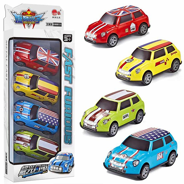 Toy Car Vehicle Playset Pull Back Car / Inertia Car Mini Truck Cartoon Toy Colorful Metal Alloy Mini Car Vehicles Toys for Party Favor or Kids Birthday Gift Random Colors 4 pcs