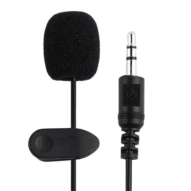 2PCS 1.5M 3.5mm Black Mini Studio Speech Mic Microphone Clip On Lapel for PC Notebook