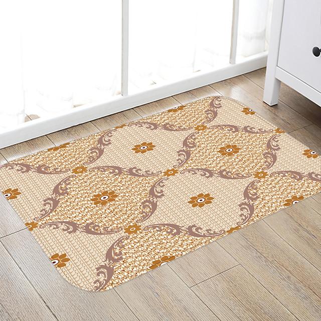Imitation Woven Fancy Floor Tiles Print High Quality Memory Foam Bathroom Carpet and Door Mat Non-slip Absorbent Super Comfortable Flannel Bathroom Carpet Bed Rug