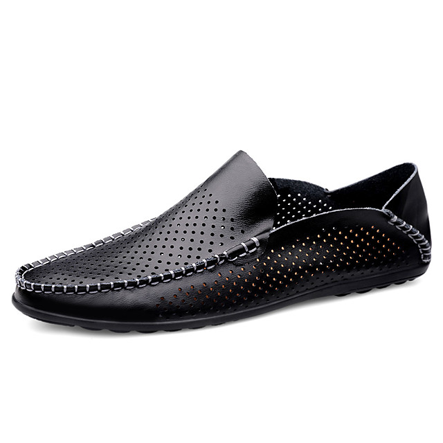 Men's Spring / Summer Business / Casual Daily Loafers & Slip-Ons Walking Shoes Sheepskin Breathable Waterproof Wear Proof Wine / Dark Brown / Black