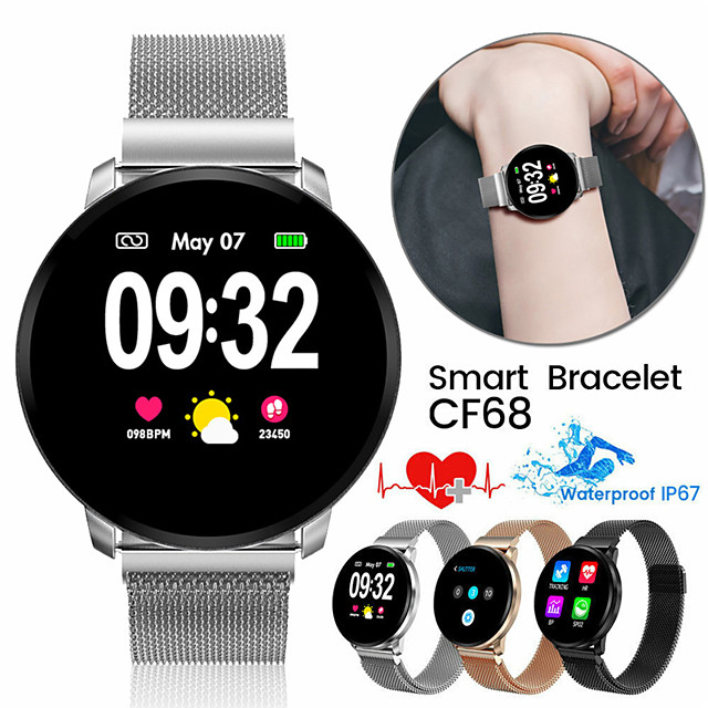 JSBP CF68  Women Smart Bracelet Smartwatch BT Fitness Equipment Monitor Waterproof with TWS Bluetooth Wireless Headphones Music Headphones for Android Samsung/Huawei/Xiaomi iOS Mobile Phone