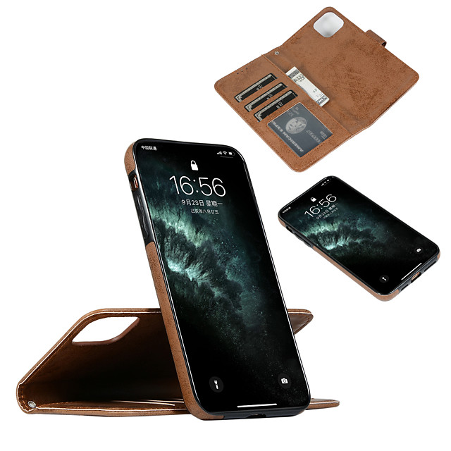 Case For Apple iPhone 11 / iPhone 11 Pro / iPhone 11 Pro Max Card Holder / Shockproof / Flip Full Body Cases Solid Colored PU Leather / TPU