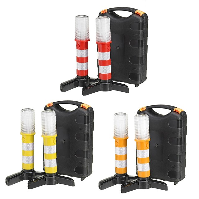 2PCS LED Car Emergency Warning Light Roadside Flash Flares Beacon Safety Strobe Lamp with Magnet Base for Traffic Warning Hiking
