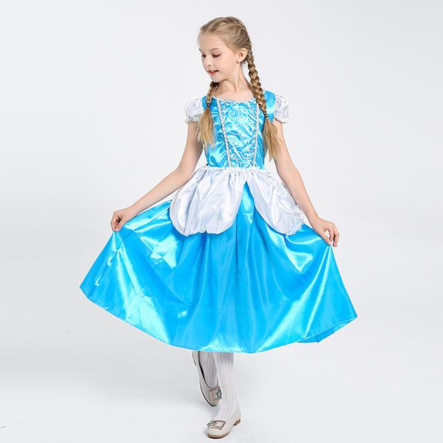 Princess Cinderella Dress Flower Girl Dress Girls' Movie Cosplay A-Line Slip Blue Dress Children's Day Masquerade Tulle Polyester