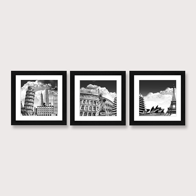 Framed Art Print Framed Set Famous Ancient Buildings in Europe Landscape Scenic PS Illustration Wall Art