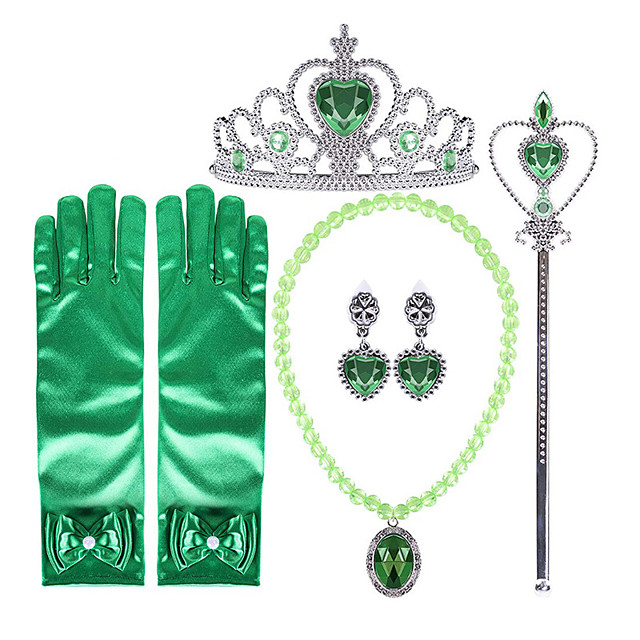 Anna Princess Cosplay Jewelry Accessories Girls' Movie Cosplay Green Gloves Crown Earrings Children's Day Masquerade Plastics / Wand / Wand