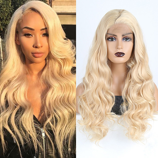 Synthetic Lace Front Wig Wavy Side Part Lace Front Wig Blonde Long Blonde Synthetic Hair 18-26 inch Women's Cosplay Soft Adjustable Blonde
