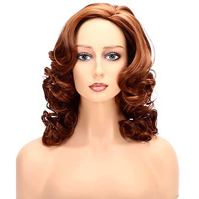 Synthetic Wig Body Wave Middle Part Wig Medium Length Brown / Burgundy Synthetic Hair 12 inch Women's Party Women Brown