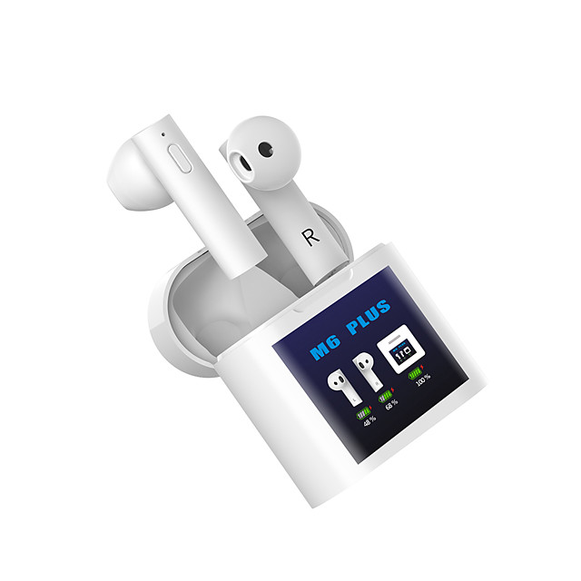 M6 PLUS TWS True Wireless Earbuds Bluetooth LED Display Stereo Dual Drivers Earphone Portable In-ear Headset Mini Sport Headphone Forehead Temperature Measureing