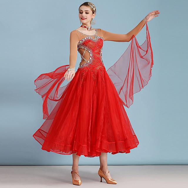 Ballroom Dance Dress Split Joint Crystals / Rhinestones Women's Training Performance Long Sleeve Mesh Organza Ice Silk