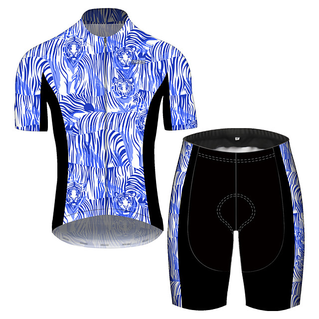 21Grams Men's Short Sleeve Cycling Jersey with Shorts Spandex Polyester Black / Blue Oktoberfest Beer Bike Clothing Suit UV Resistant Quick Dry Sports Solid Color Mountain Bike MTB Road Bike Cycling