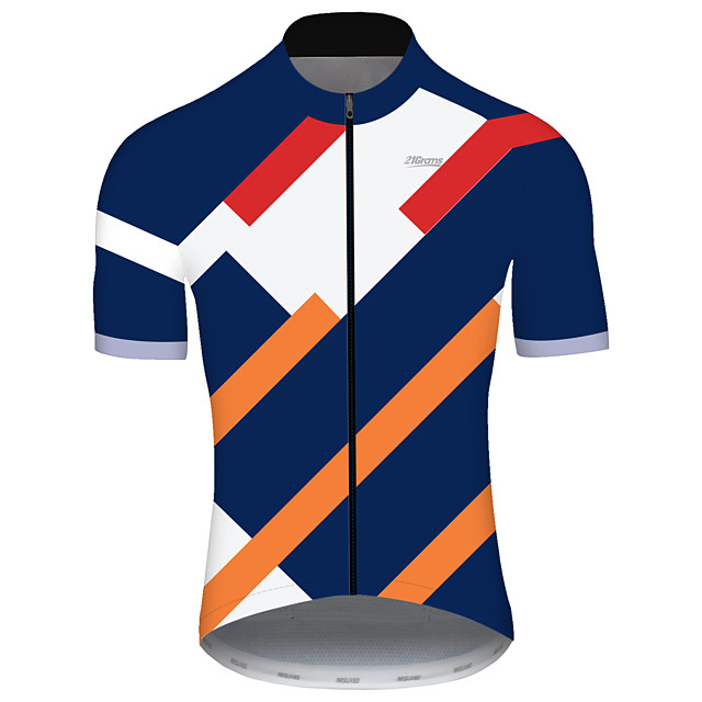 21Grams Women's Short Sleeve Cycling Jersey Spandex Polyester Blue Floral Botanical Bike Jersey Top Mountain Bike MTB Road Bike Cycling UV Resistant Breathable Quick Dry Sports Clothing Apparel