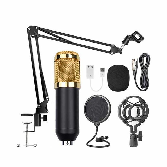 Wired Microphone Condenser Microphone Pop Filter 3.5mm Jack for Studio Recording & Broadcasting PC, Notebooks and Laptops Mobile Phone
