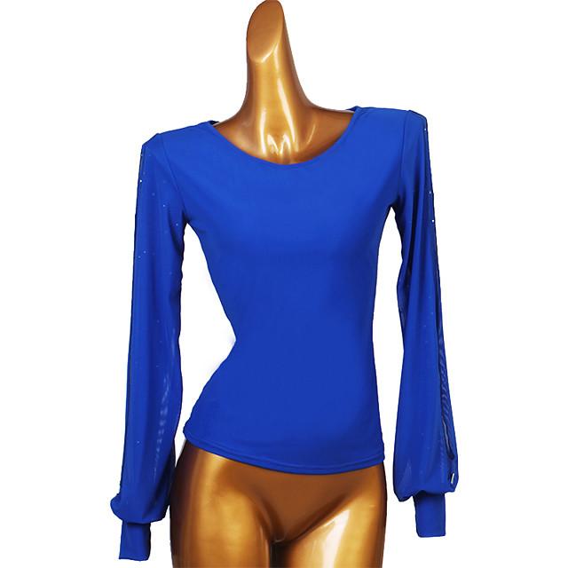 Ballroom Dance Top Split Joint Women's Training Long Sleeve Chinlon Mesh