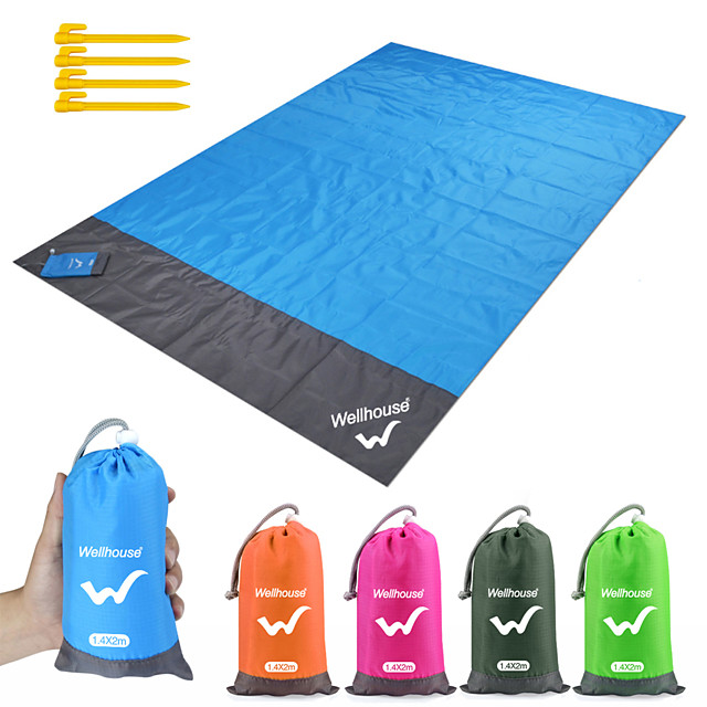 Camping Mat Picnic Blanket Beach Blanket Outdoor Camping Waterproof Portable Ultra Light (UL) Wear Resistance Ground Mat TPU Polyester 140*200 cm for 5 - 7 person Camping Hiking Traveling Summer