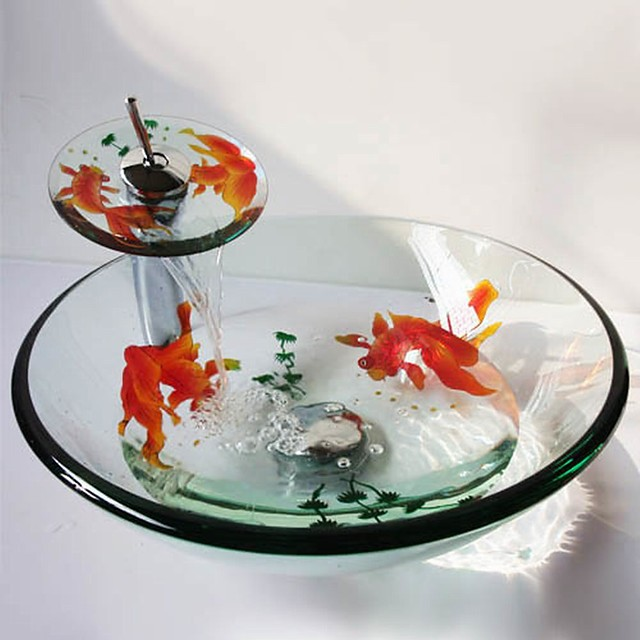 Round Carved Goldfish Tempered Glass Vessel Sink with Waterfall Faucet Pop - Up Drain and Mounting Ring