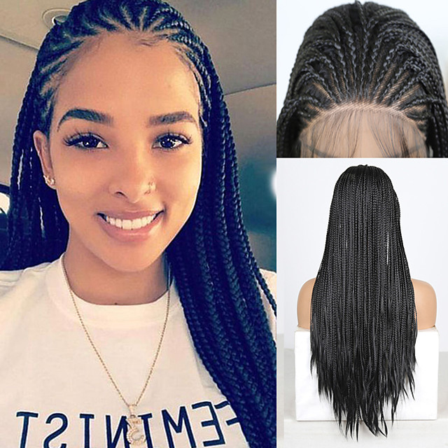 Synthetic Lace Front Wig Box Braids Plaited with Baby Hair Lace Front Wig Pink Long Black#1B Synthetic Hair 18 24 inch Women's Women Faux Locs Wig Braided Wig Black Pink