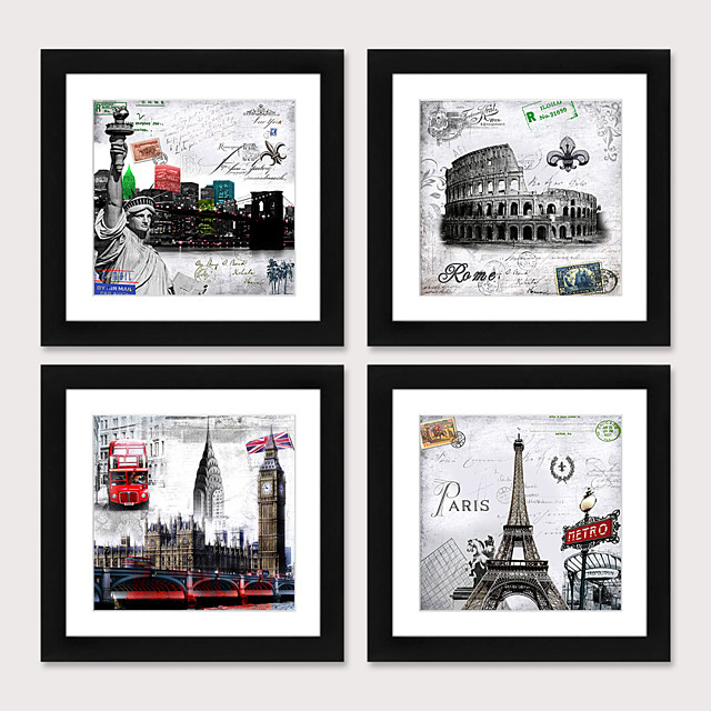 Framed Art Print Framed Set4 - European And American Style Black And White Architecture  Scenic PS Illustration Wall Art