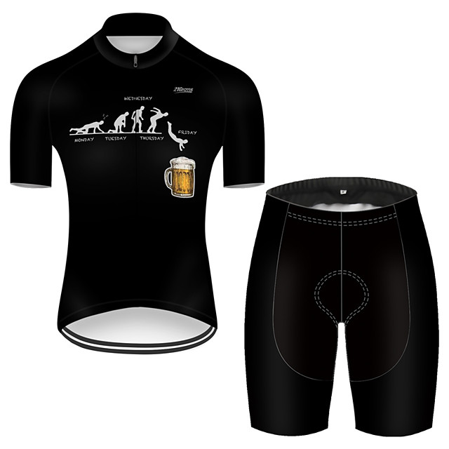 21Grams Men's Short Sleeve Cycling Jersey with Shorts Nylon Polyester Black Funny Oktoberfest Beer Bike Clothing Suit Breathable Quick Dry Ultraviolet Resistant Reflective Strips Sweat-wicking Sports