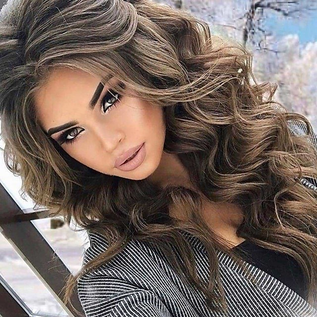 Synthetic Wig Body Wave Asymmetrical Wig Short Very Long Brown Synthetic Hair 26 inch Women's Fashionable Design curling Fluffy Brown
