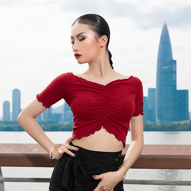 Latin Dance Top Ruching Women's Performance Short Sleeve Modal
