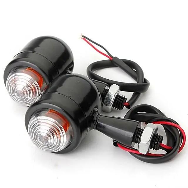 4pcs Black Clear Lens Mini Bullet Bulb Turn Signal Black Front Rear Light For Harley