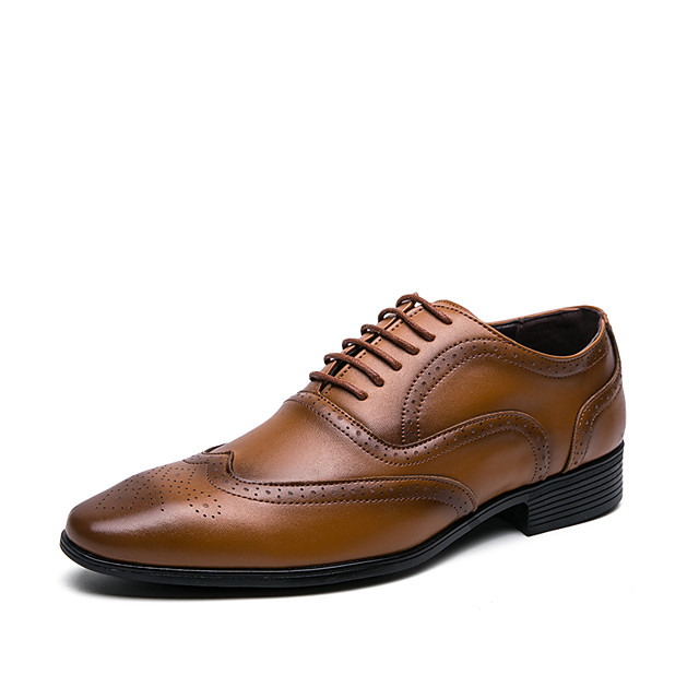 Men's Summer / Fall Daily Office & Career Oxfords Faux Leather Light Brown / Black / Yellow