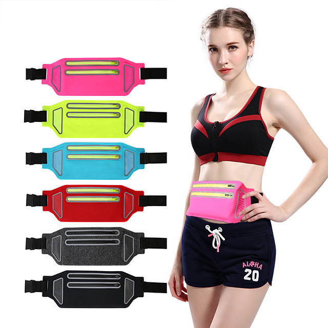 Running Belt Fanny Pack Belt Pouch / Belt Bag for Running Hiking Outdoor Exercise Traveling Sports Bag Reflective Adjustable Waterproof Lycra Spandex Men's Women's Running Bag Adults