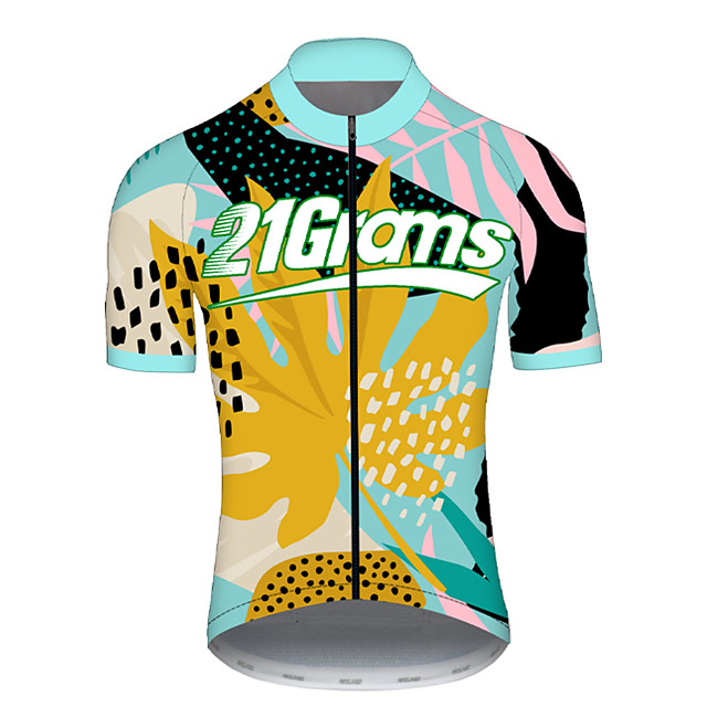 21Grams Men's Short Sleeve Cycling Jersey Spandex Polyester Yellow Floral Botanical Bike Jersey Top Mountain Bike MTB Road Bike Cycling UV Resistant Breathable Quick Dry Sports Clothing Apparel