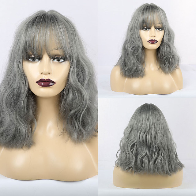 Synthetic Wig Matte Loose Curl Neat Bang Wig Long Grey Synthetic Hair 16 inch Women's Romantic Fluffy Dark Gray