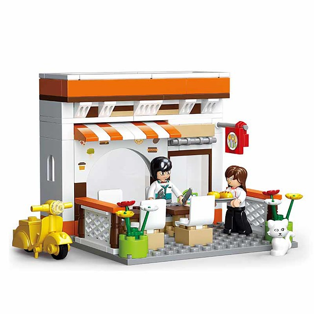 Building Blocks Educational Toy 134 pcs Cartoon Restaurant compatible Plastic Shell Legoing Exquisite Hand-made Decompression Toys DIY Boys and Girls Toy Gift / Kid's