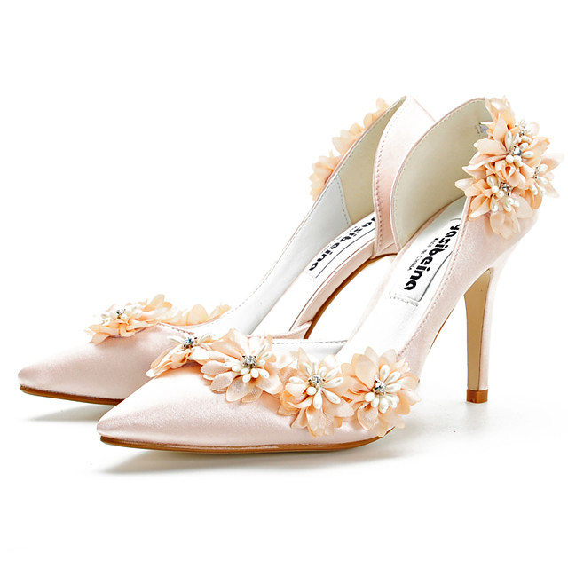 Women's Heels 2020 Spring / Fall Stiletto Heel Pointed Toe Classic Sweet Wedding Party & Evening Satin Champagne